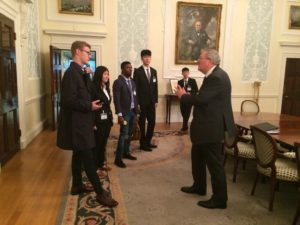 Frank Herzig of Bannermans with students at Lloyds